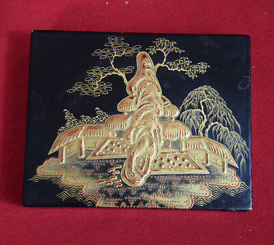 Antique Japanese Wood & Lacquer Box with gold  hand painted