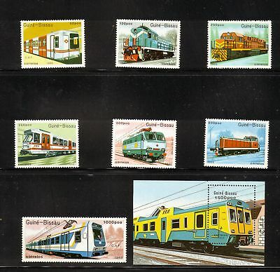"GUINE BISSAU #795 - 802, MNH, F-VF, - ""Trains"" - Cat $19.50"