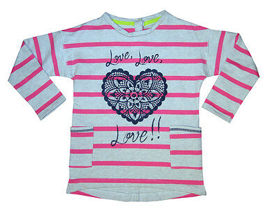 Bnwot Girls Pink Striped Tunic With Heart Motif & Pockets Age 6-7 Only