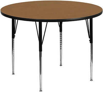 42'' Round Activity Table with Oak Thermal Fused Laminate Top & Standard Height