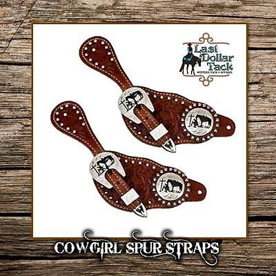 Cowgirl's Floral Tooled Leather Western Spurs Straps With Praying Cowboy Concho