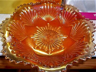 Vintage Estate Home Decor Collectible Carnival Glass Sand & Shell Bowl