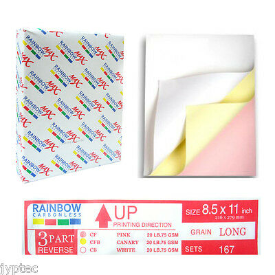 Rainbow Max NCR Carbonless 3 Parts Paper for Laser & Inkjet Printer, 501 Sheets