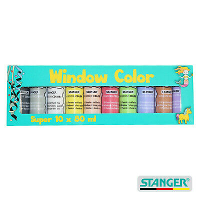 Packung mit 10 x 80 ml Flaschen Window Color Farbe Bastelpackung OVP