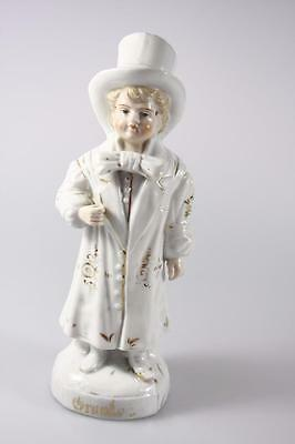 Antique Young Boy In Formal Attire Continental Porcelain Figure