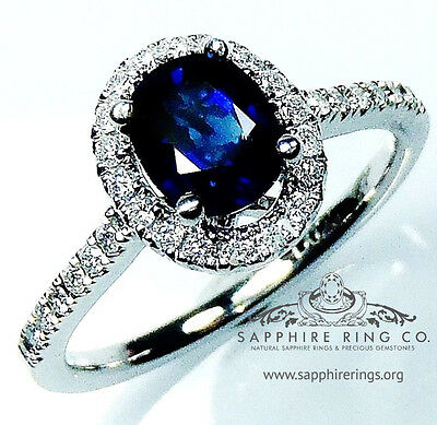Certified 18kt White Gold 1.41 tcw Blue Oval Cut Natural Sapphire & Diamond Ring