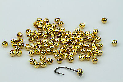 Tungsten Slotted Fly Tying Beads / Gold 100 Count - Various Sizes