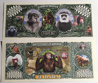 RARE: Primates, Apes $1,000,000 Novelty Note, Wild Animals Buy 5 Get one FREE .