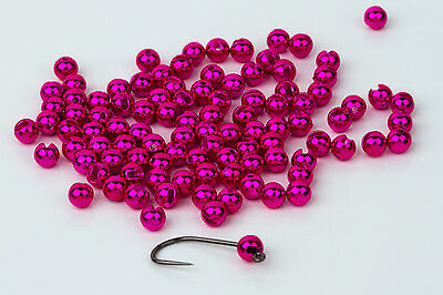 Tungsten Slotted Fly Tying Beads / Metallic Pink 100 Count - Various Sizes