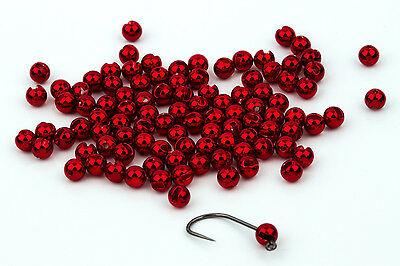 Tungsten Slotted Fly Tying Beads / Metallic Red 100 Count - Various Sizes