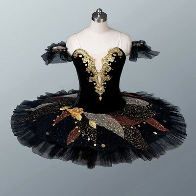 Professional Classical Black W/Gold Swan Lake or Spanish Ballet Tutu Custom MTO