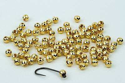 Tungsten Slotted Disco Fly Tying Beads / Gold 100 Count - Various Sizes