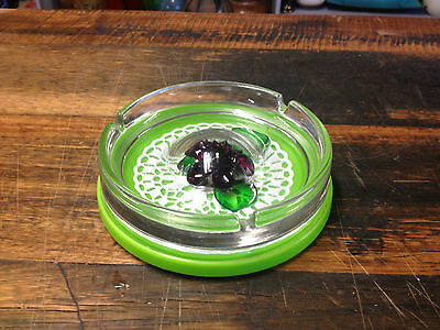 BRT Groovy 1970's Retro Japanese Funky Clear Glass & Green Plastic Ashtray