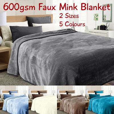 Luxury 600gsm Faux Mink Blanket - Super Soft - Single and Queen Size - 5 Colours