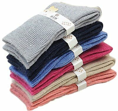 Lian LifeStyle Children 3 or 6 Pairs Pack Wool Socks Solid Color