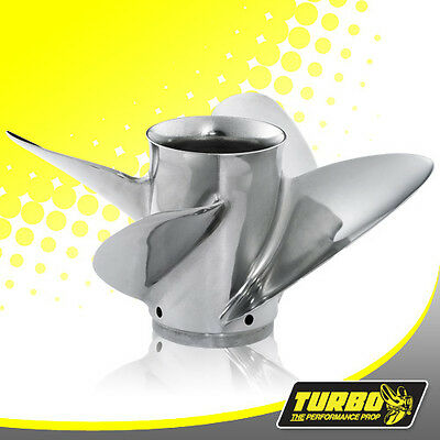 Turbo FX4 13 1/4 x 24 Stainless Steel 4 Blade Propeller For Yamaha 50 - 130HP