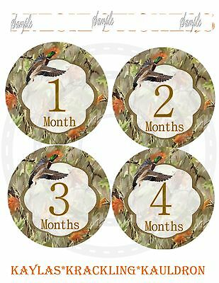 13 Camo Duck Hunting Baby Monthly Stickers Baby Milestone Stickers