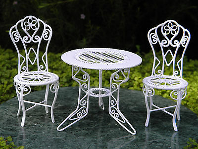 Miniature Dollhouse FAIRY GARDEN Furniture ~ White Wire Table & Chairs ~ NEW
