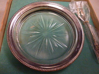 Vtg. Frank M. Whiting & Co Glass Sterling Silver Rim Lemon dish Fork or Coaster