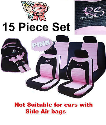 15 Piece Girly Pink RS Racing Car Seat Cover Mat Set Wheel Glove Cover Pads