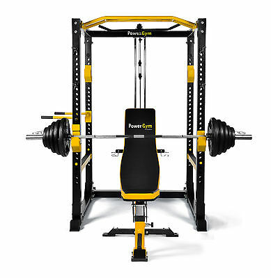 NEW PowerGym Fitness Commercial Olympic Power Rack Cage Smith Package Deal