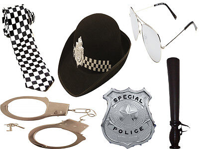 6Pc Policewoman Set Cop Women Fancy Dress Police Hat Hen Party Costume Kit