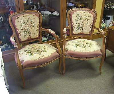 Quality Vintage French Carved Oak Pair Of Needlepoint Armchairs - (00686)