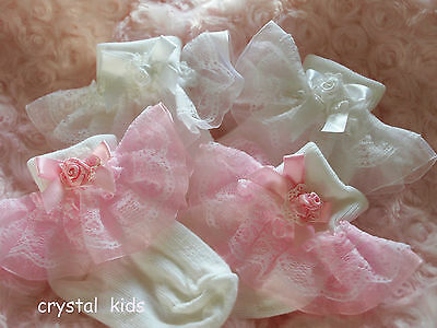 Handmade Baby Girls White Pink Lace Organza Christening Frilly Socks 4 Sizes