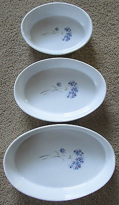 HERITAGE MINT Enchanted Garden Set 3 Casserole dishes Bowls yellow band floral