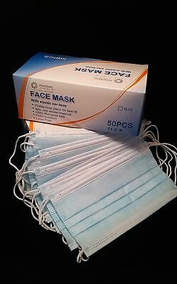 50 MASKS in bag - Surgical 3-ply Earloop Face Masks Latex Free [FREE SHIP]