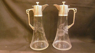 Antique Pair of Art Deco WMF silverplated and cut glass Claret Pitcher jug