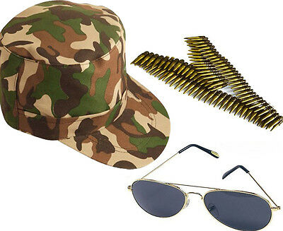 Mens 3Pc Aviators Glasses Army Cap Bullets Belt Ladies Fancy Dress Costume Set