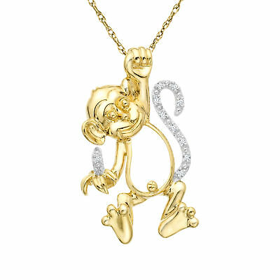 Monkey Pendant with Diamonds In 10K Gold