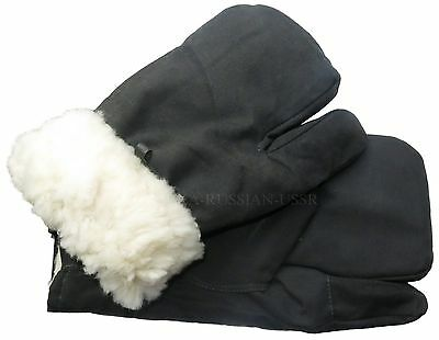 Original soviet army winter mittens gloves three fingers warm sheepskin fur M L