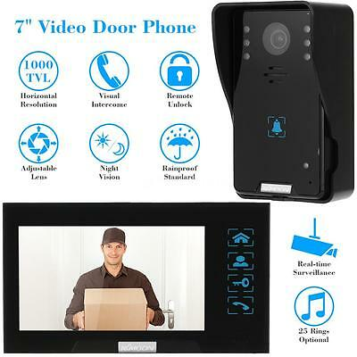 """7"""" LCD Wired Video Intercom Door Phone Doorbell 1 Camera 1 Touch Monitor US Q9M3"""