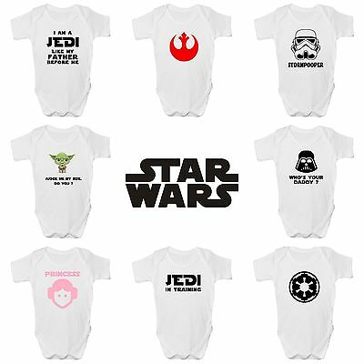 Star Wars Funny Baby Grow / Vest / Sleepsuit, Star Wars Babies Clothing FREE P&P