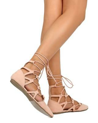 New Women Nature Breeze Langley-02 Suede Pointy Toe Gilly Tie Wrap Lace Up Flat