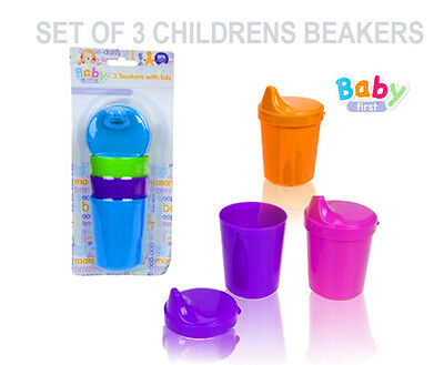 Baby/Infant Children's Training Beakers/Cups With Lids Set Of 3 Feeding Cup Lid