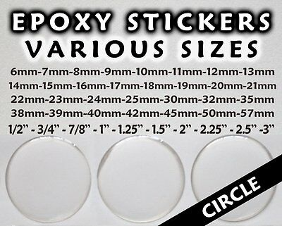 Round Epoxy Stickers - Circle Resin Domes - Bottle Cap Adhesive - Clear Dot Dome