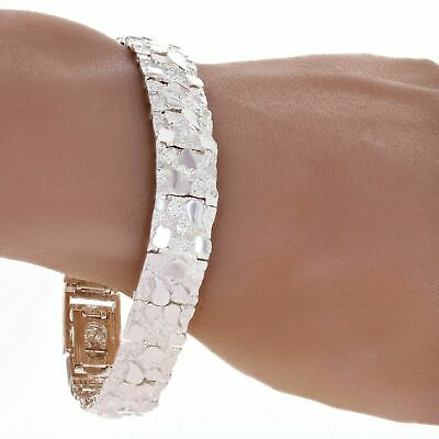 "Solid 925 Sterling Silver Nugget Bracelet Adjustable 8.5"" 12.5mm 30 grams"