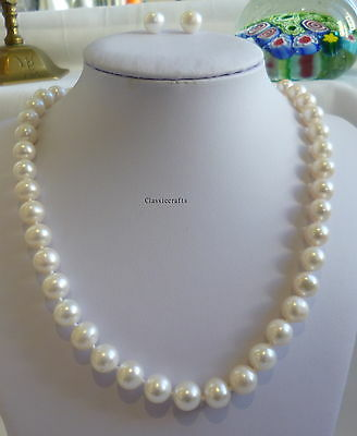 Genuine silver 9-10mm near circle freshwater pearl necklace+earrings set  White