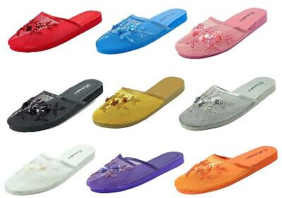 Womens Chinese Mesh Floral Beaded Sequined Slipper Multi-color Size ---1313 网拖