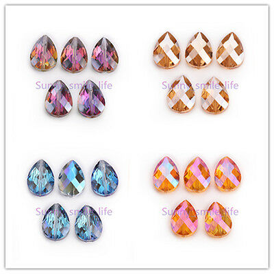 DIY Jewelry Making Faceted Colorized Glass Crystal Teardrop Spacer Beads 24mm