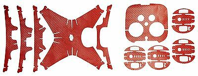 Carbon Fiber Skin Sticker Decal V2 For DJI Phantom 4+Battery+REMOTE red