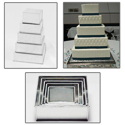 "5 Tier Square Wedding Cake Tins 6"" 7"" 8"" 9"" 10"""