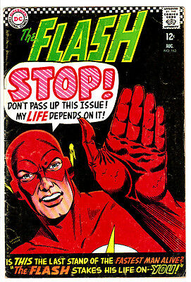 """FLASH #163 VG/FN """"The Flash Stakes His Life On You!"""" Vintage Silver-Age! DC 1966"""