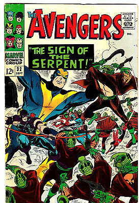 AVENGERS #32 (FN) Scarlet Witch! Quicksilver! Captain America! Wasp! 1966 Marvel