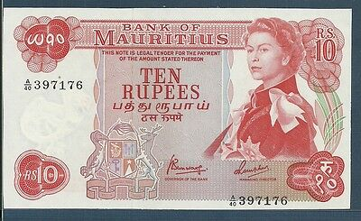 Mauritius 10 Rupees, 1967, P 31c,  UNC with 1 yellow spot