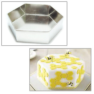 "Single Hexagonal 10"" Wedding Birthday Christmas cake tins - cake pans"