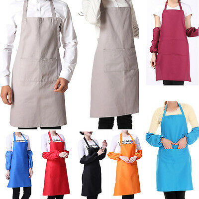 Practical Plain Apron With Front Pocket For Chefs Butchers Kitchen Craft Baking